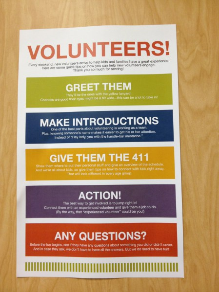 New Volunteers checklist