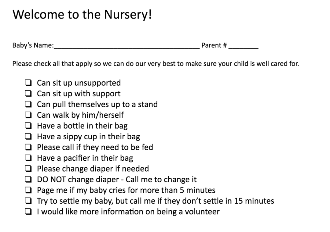 parent checklist for the nursery kids ministry leadership