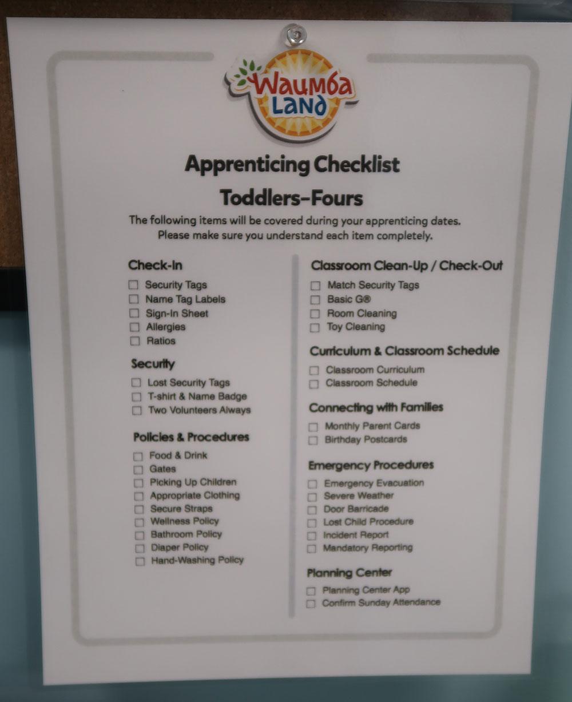 New Volunteer Check List