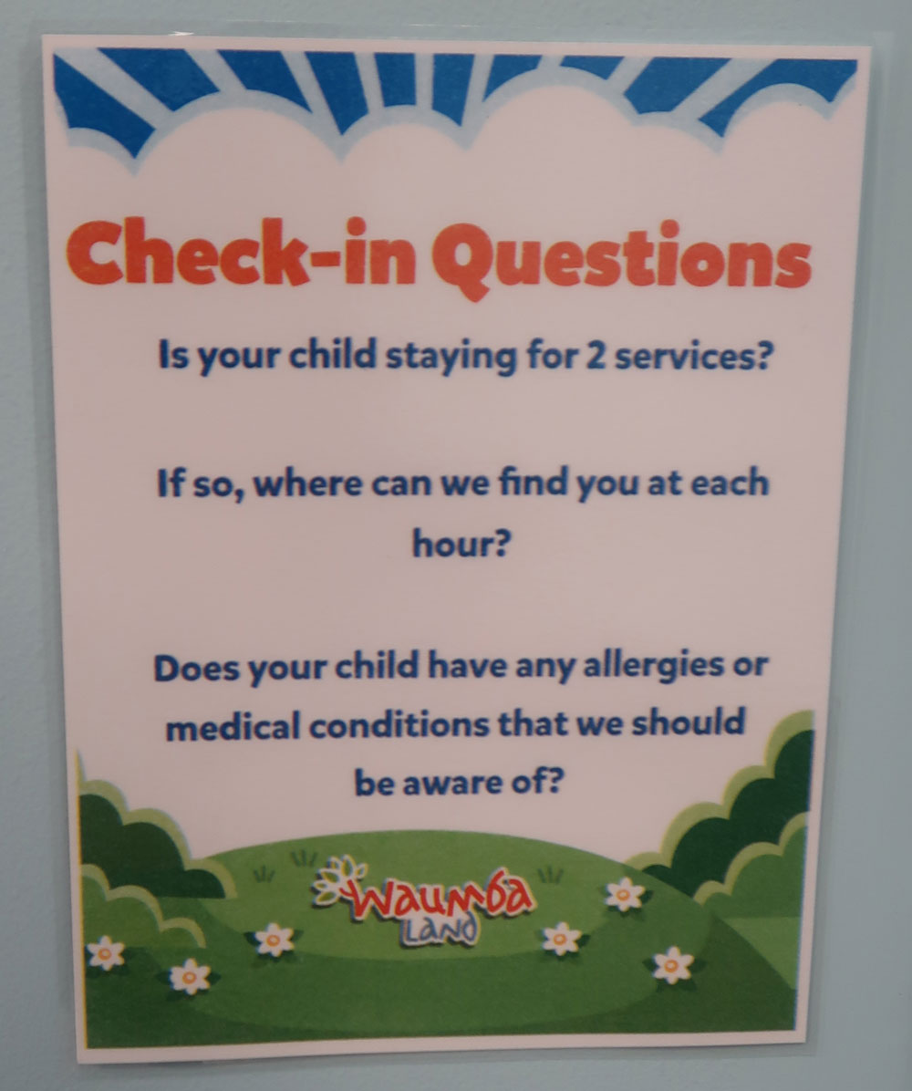 Check in Questions Sign