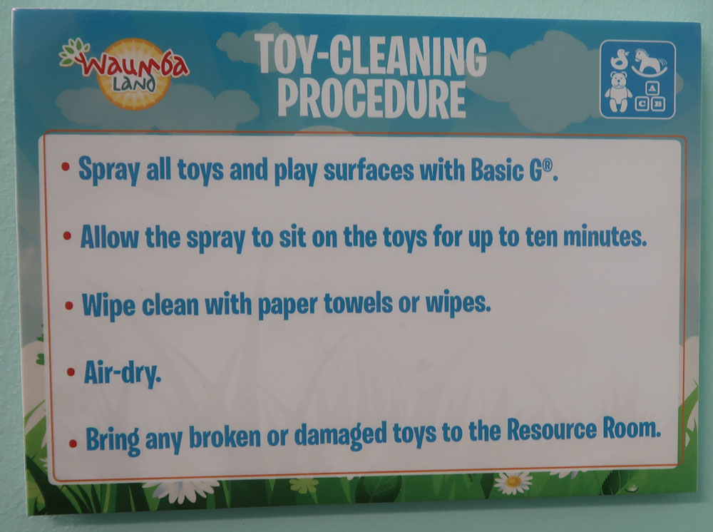 Toy Cleaning Procedure Sign